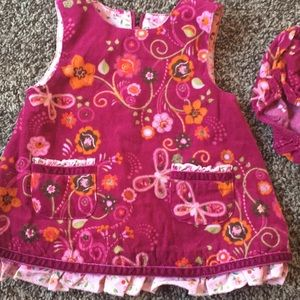 Baby girls corduroy dress with matching bloomers